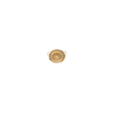 Oval basket in two-tone Wicker - 65x55 cm