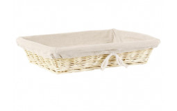 Rectangular Bread Basket in Wicker - 30x21x10 cm