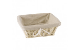 Square Bread Basket in Wicker - 24x24x10 cm