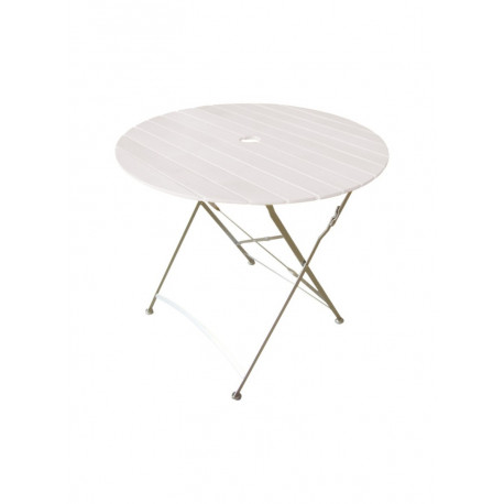 Square White Table with Slats  - Ø 80 cm