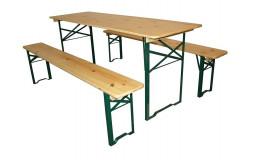 Table Rectangulaire Banquet 200x80x76 avec 2 bancs 200x25x46