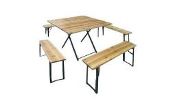 Table Carrée Banquet 110x110x76 avec 4 bancs 110x25x46